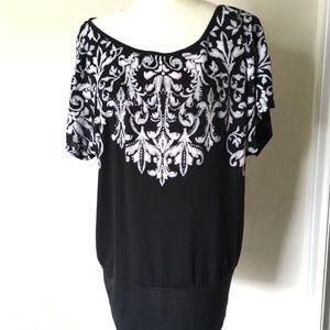 B.L.E.U Women's L black Embroidered Stretch Blouse